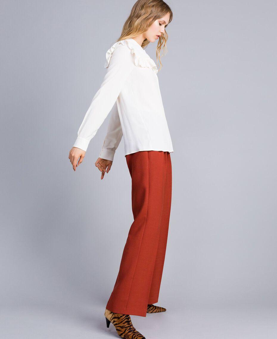 Camicia in misto seta con ruches Bianco Neve Donna TA823E-02