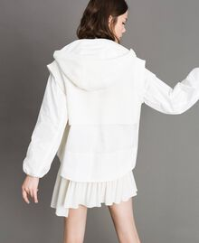 "Taffeta and knit sweatshirt ""Silk"" White Woman 191TP2041-03"