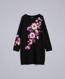 Kleid aus Wollmischung mit Stickerei 3D-Stickerei Schwarz Frau TA83JA-0S