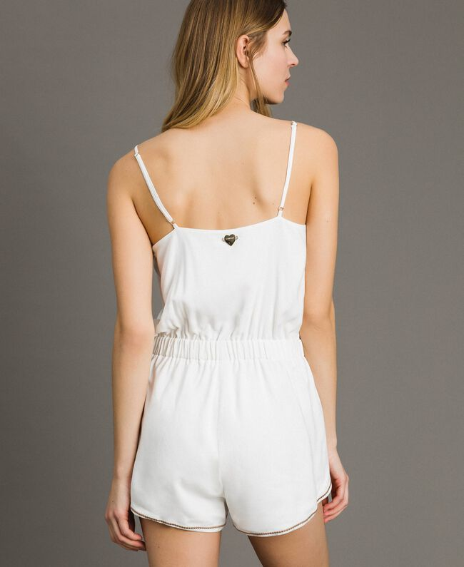 Short jumpsuit with shoulder straps and embroideries Ivory Woman 191LM2RDD-03