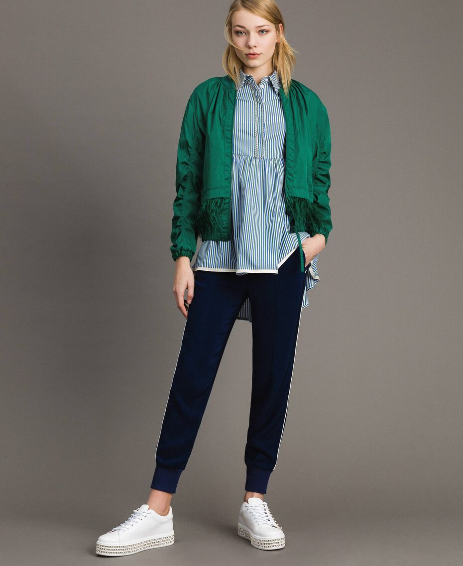 Technical fabric bomber jacket with feathers Evergreen Green Woman 191TP2011-0T