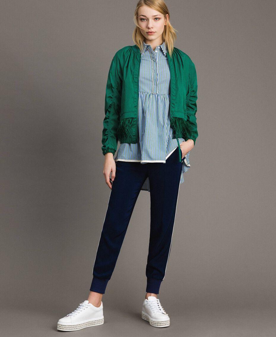 Bomber en tissu technique avec plumes Vert Evergreen Femme 191TP2011-0T