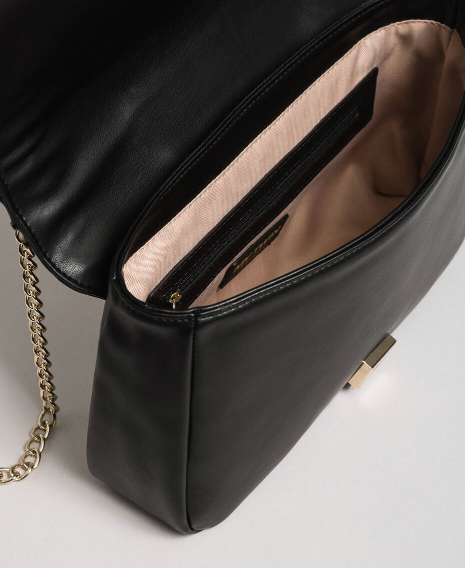 Shoulder bag with flounce and pearls Black Woman 192MA7063-05