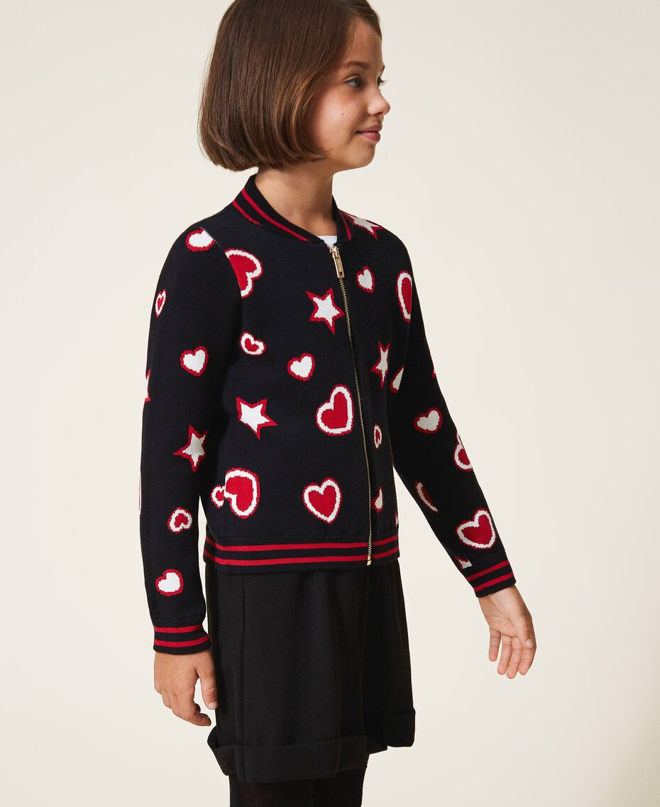 Жаккардовый кардиган со звездами и сердечками Жаккард Звезды Сердца / Черный Pебенок 202GJ3540-03