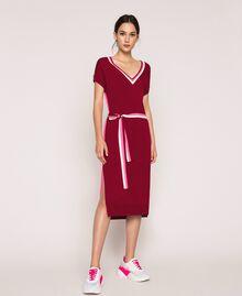 """Двухцветное трикотажное платье с поясом Двухцветный Красный """"Пурпурный"""" / Супер-розовый женщина 201ST3030-01"""
