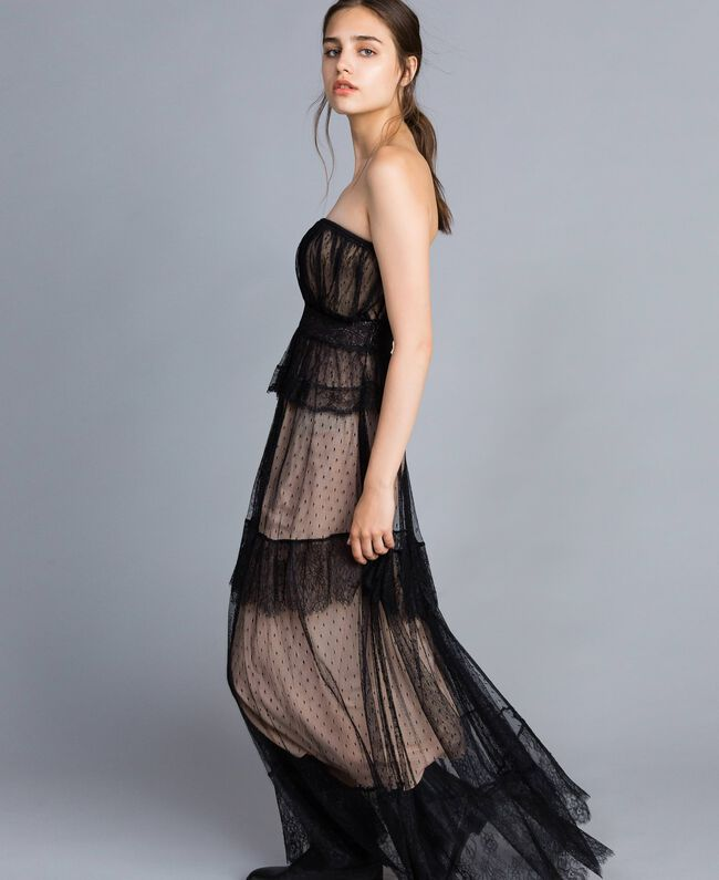 Tulle plumetis and lace long bustier dress Black Woman TA82XC-01