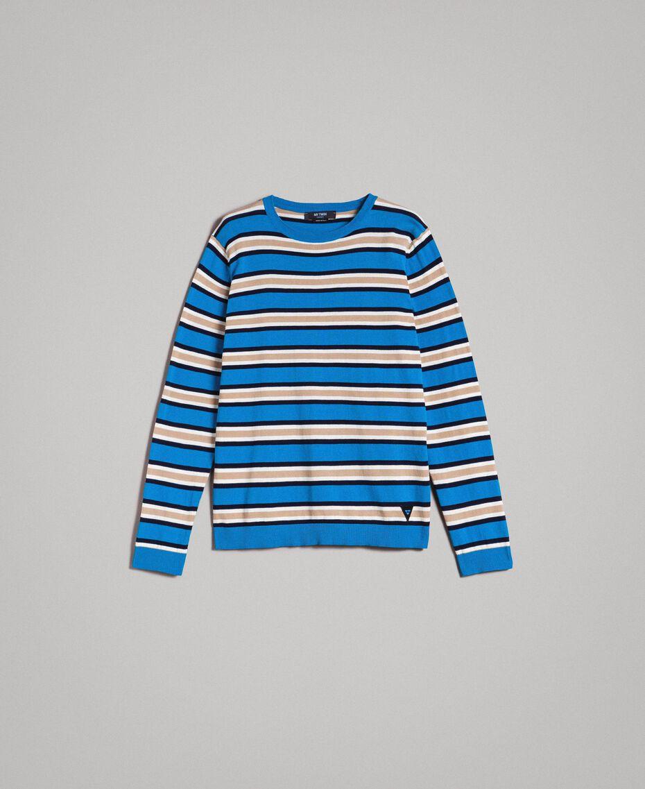 """Pull rayé en crêpe de coton Multicolore Bleu Baie / Bleu """"Blackout"""" / Blanc Opaque Homme 191UT3033-0S"""