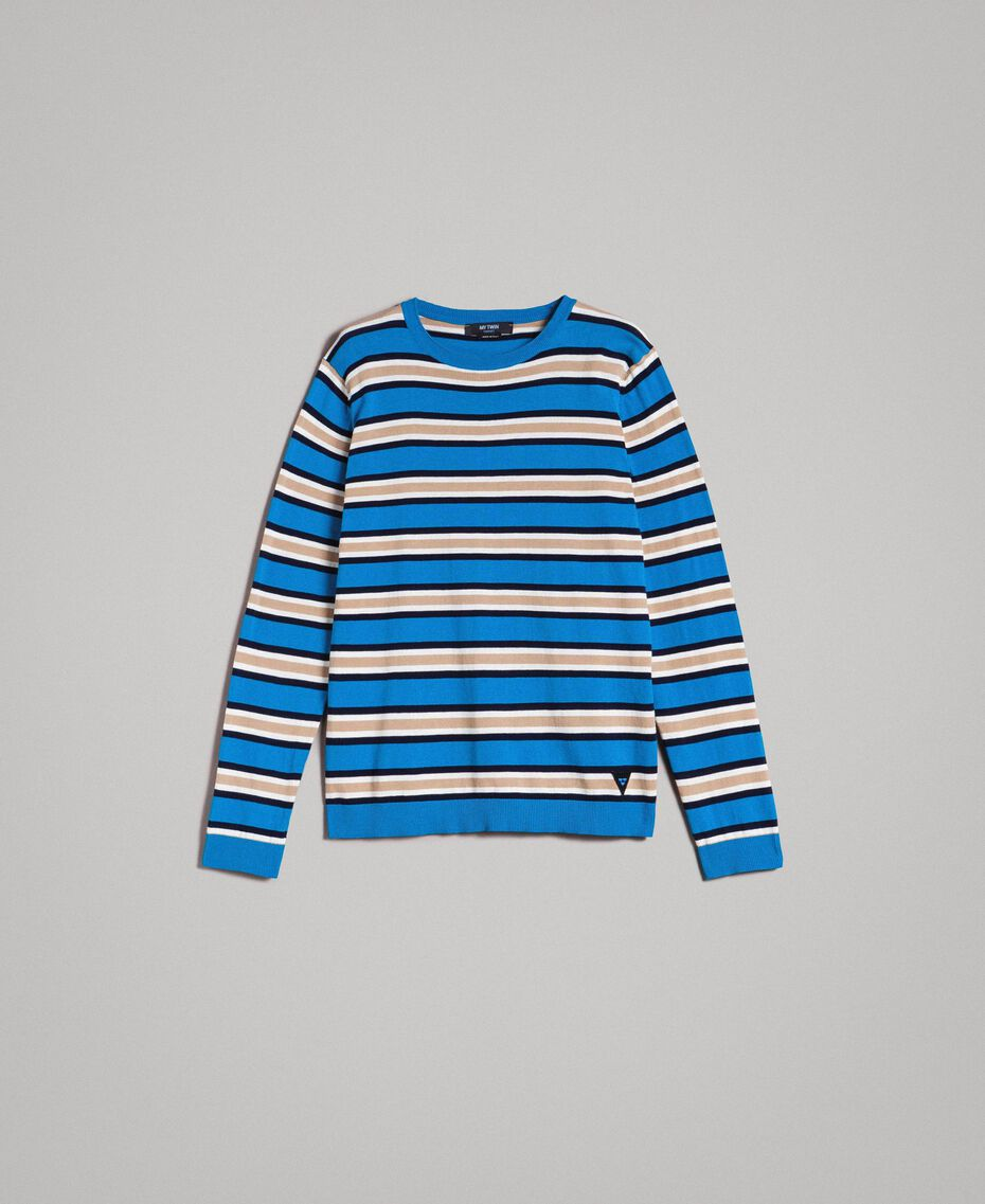 "Crêpe cotton striped jumper Multicolour Bay Blue / ""Blackout"" Blau / Opaque White Man 191UT3033-0S"