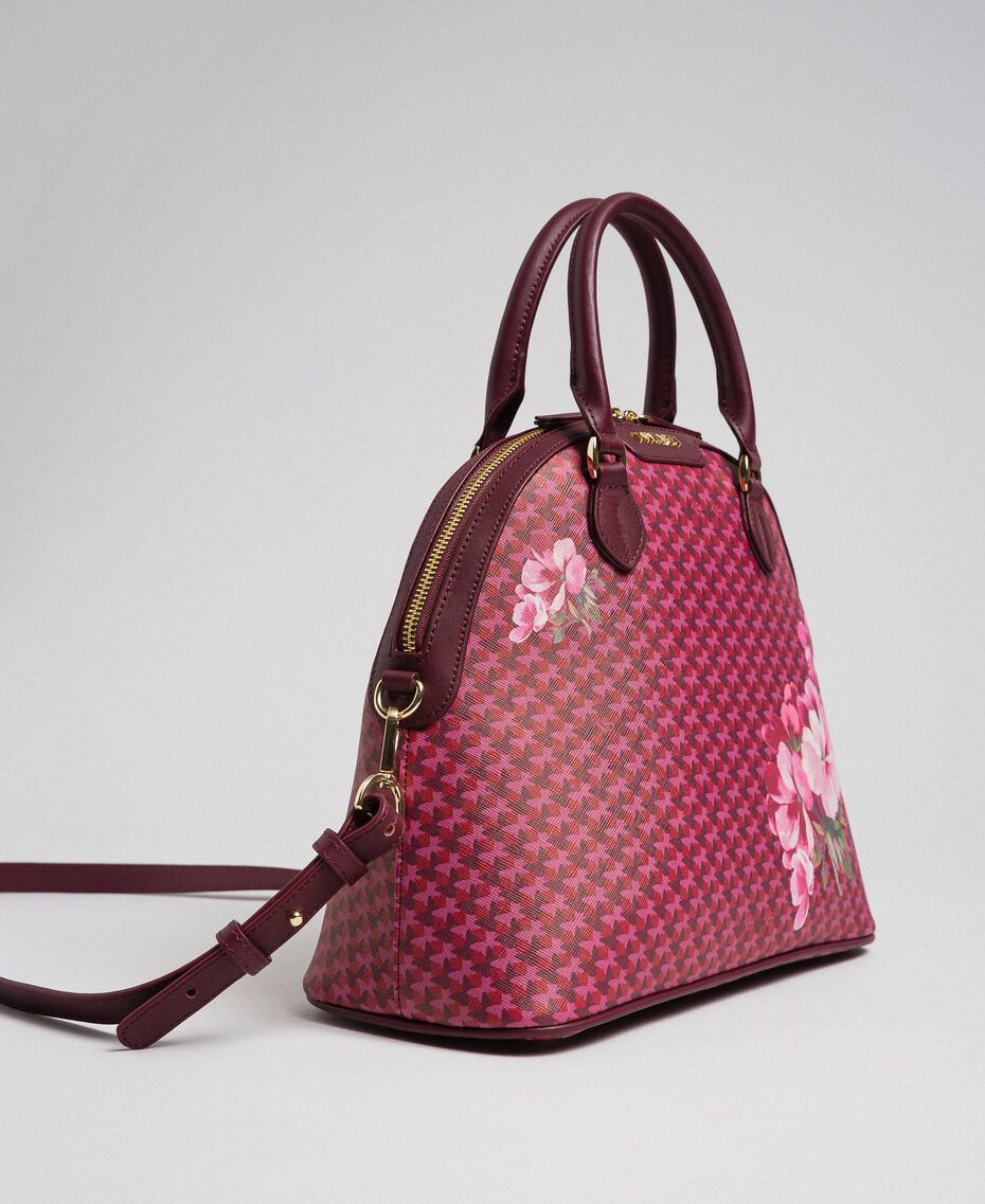 Bauletto-Tasche aus bedrucktem Lederimitat Schmetterling-Blumen-Print Rote-Bete-Rot Frau 192TA7015-02