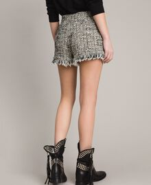 "Fringed tweed shorts Two-tone ""Snow"" White Bouclé / Black Woman 191TP2526-03"