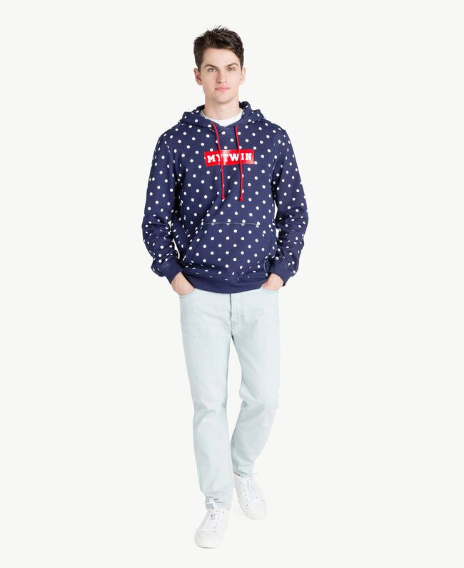 Sweat-shirt pois Bleu Blackout Homme US8251-05