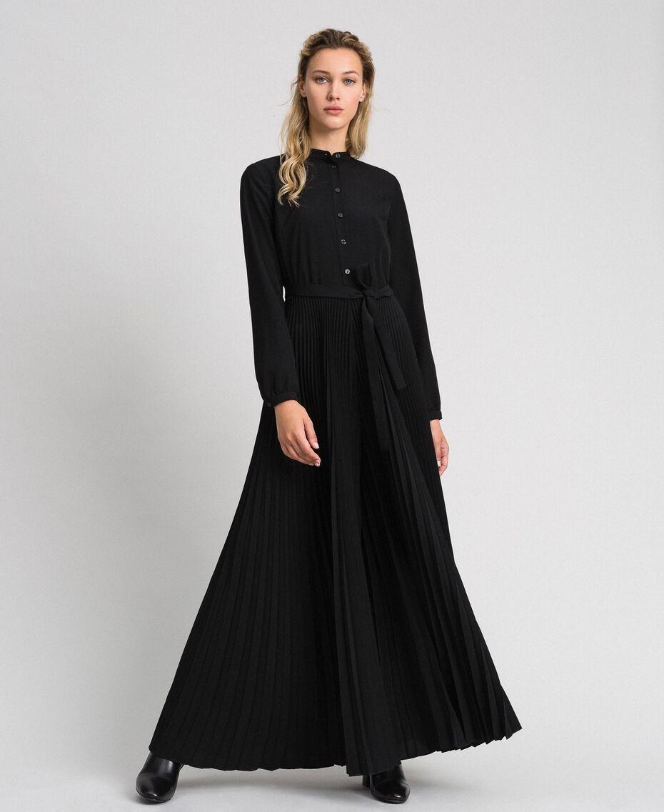 Pleated crêpe de Chine jumpsuit Black Woman 192TT2294-02