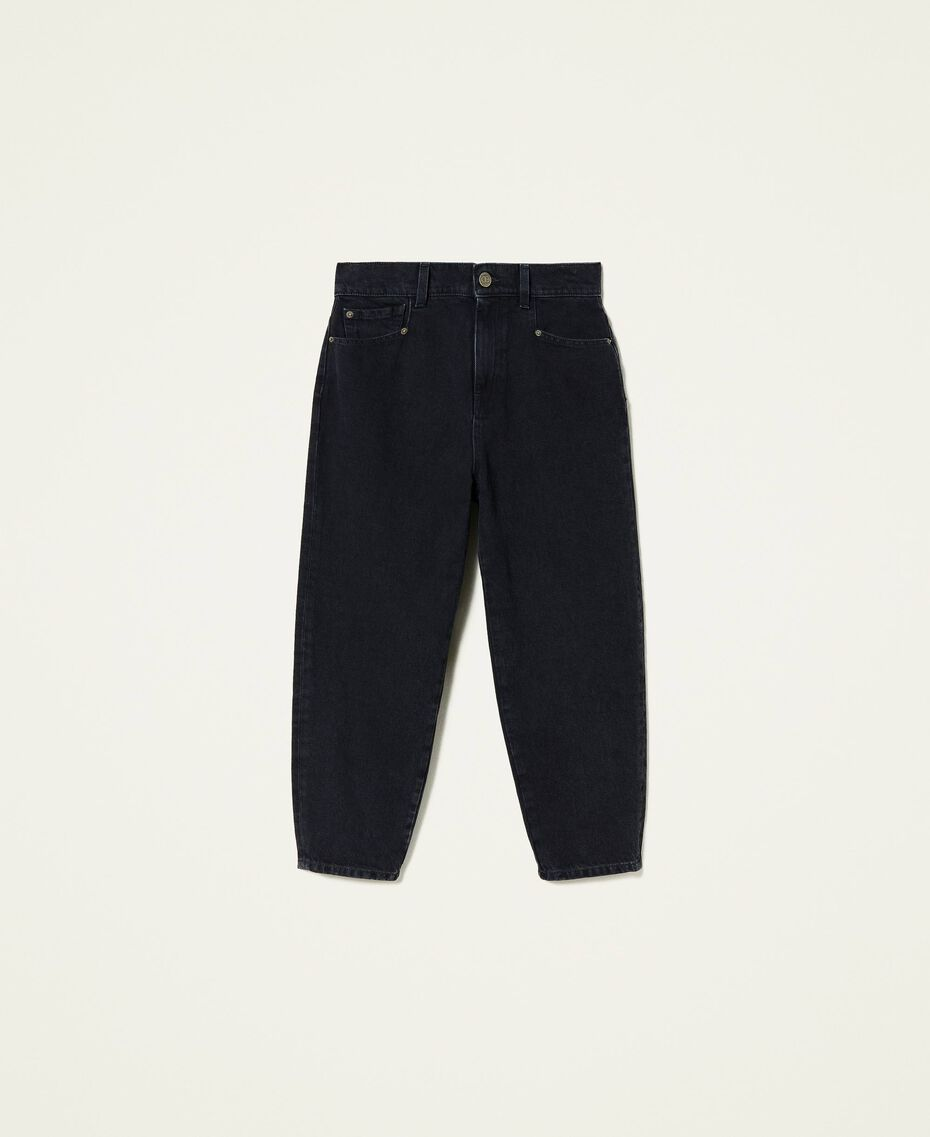 Carrot fit high waist jeans Black Denim Woman 212TP232C-0S