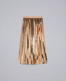 Mid-length georgette sequin skirt Camel Woman PA82J3-0S