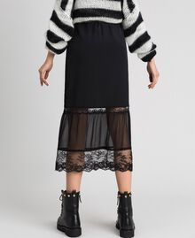 Georgette midi skirt with lace Black Woman 192TP2574-03