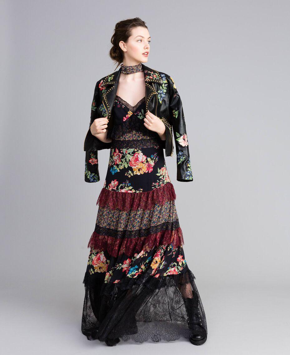 Floral print georgette long dress Flower Patch Print Woman PA82PB-0T