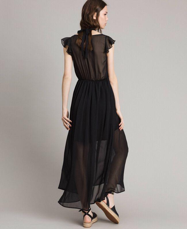 Robe longue en crépon Noir Femme 191LB21HH-03