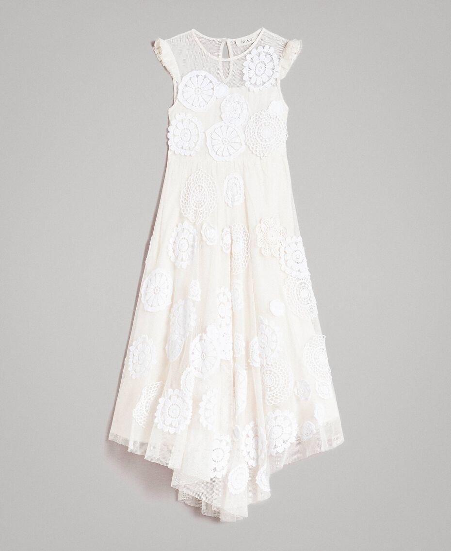 Muslin long dress with embroideries Two-tone Chantilly / Off White Child 191GJ2Q30-01