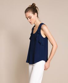 Silk blend top with ruffles White Snow Woman 201TP2507-02
