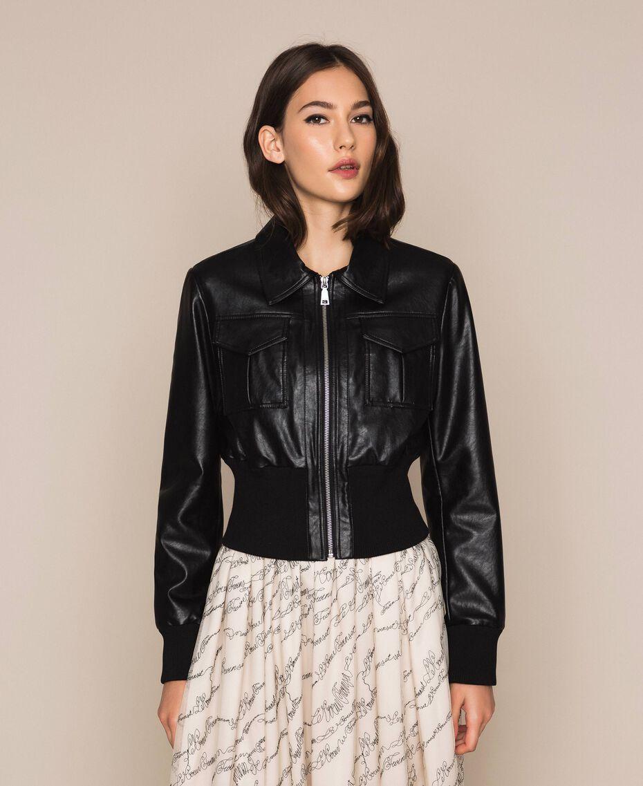 Blouson en similicuir avec ceinture Noir Femme 201MP2030-01