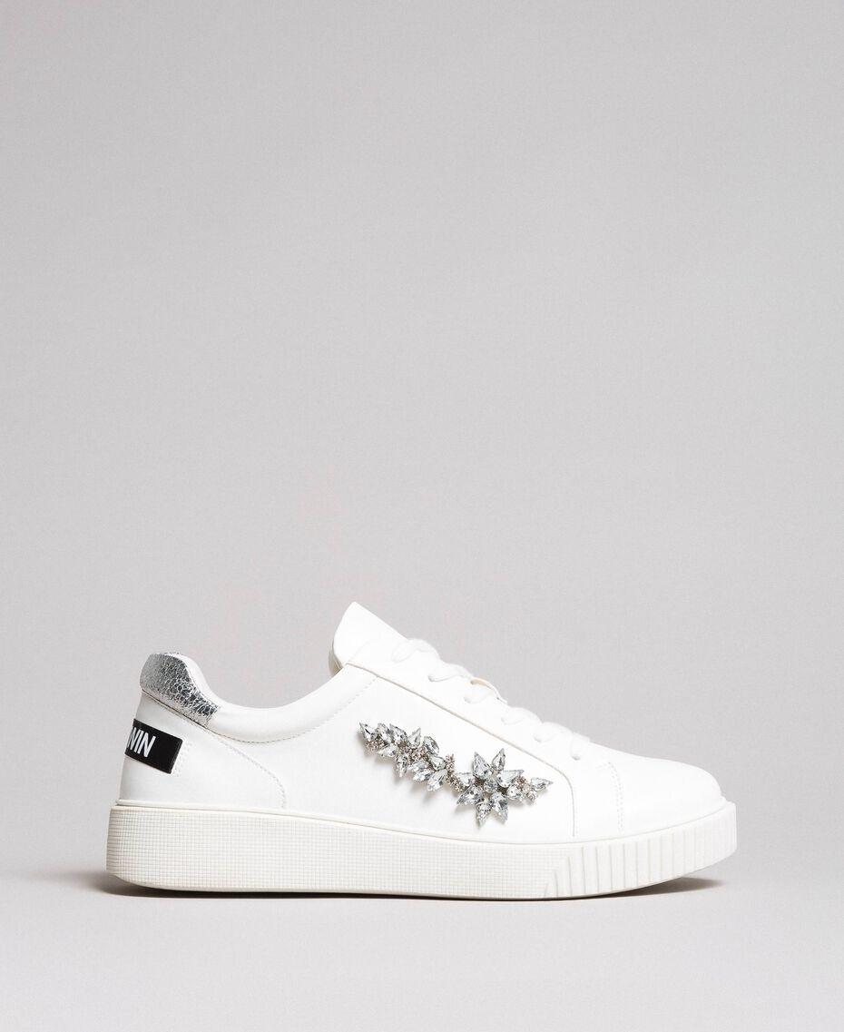 Kunstleder-Sneakers mit Steinen White Sahne Frau 191MCP032-02