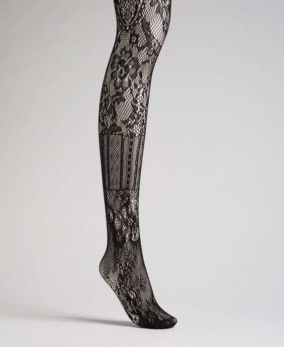 Tights with mixed mesh and lace