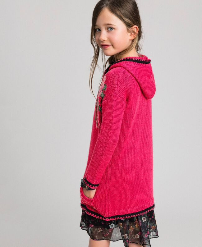 "Wool blend maxi cardigan with rose inlay ""Candy"" Fuchsia/ Black Child 192GJ3021-03"