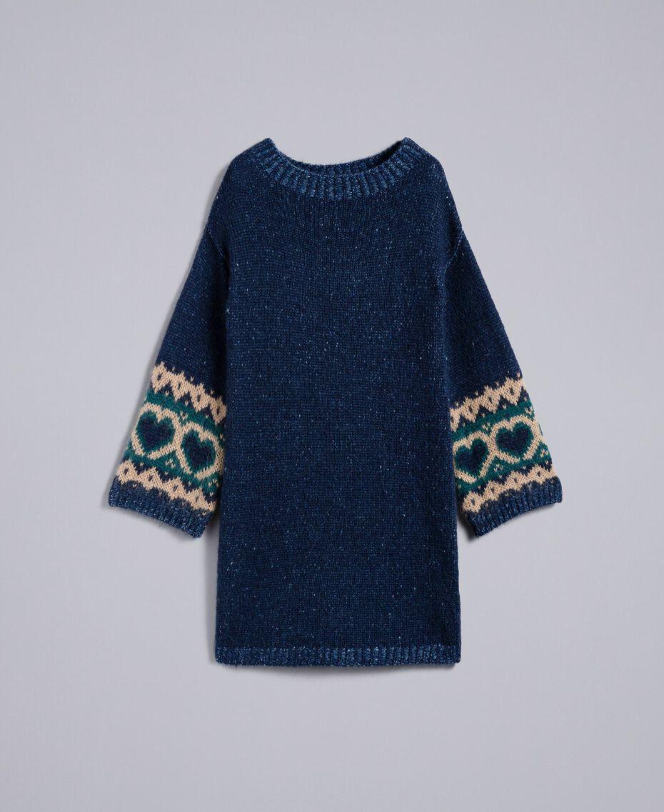 Kleid mit Jacquardherzen Blue Night Frau YA8313-0S