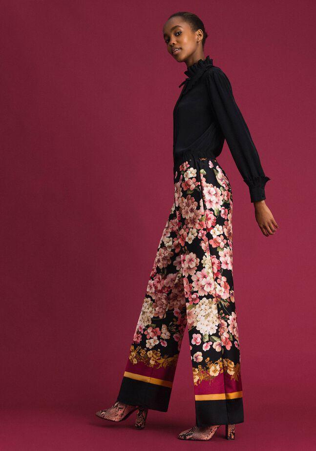 Pantalon palazzo avec imprimé foulard floral