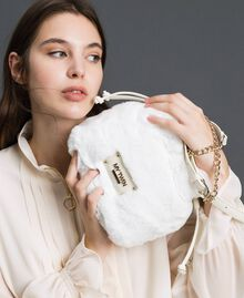 Faux fur bucket bag with drawstring Vanilla White Woman 192MO8032-0S