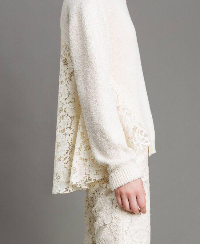 Pullover mit Spitzendetails Weiß Schnee Frau 191TP3202-04