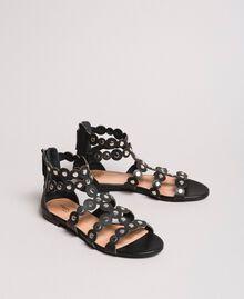 Leder-Sandalen mit Nieten Schwarz Frau 191TCP04C-01