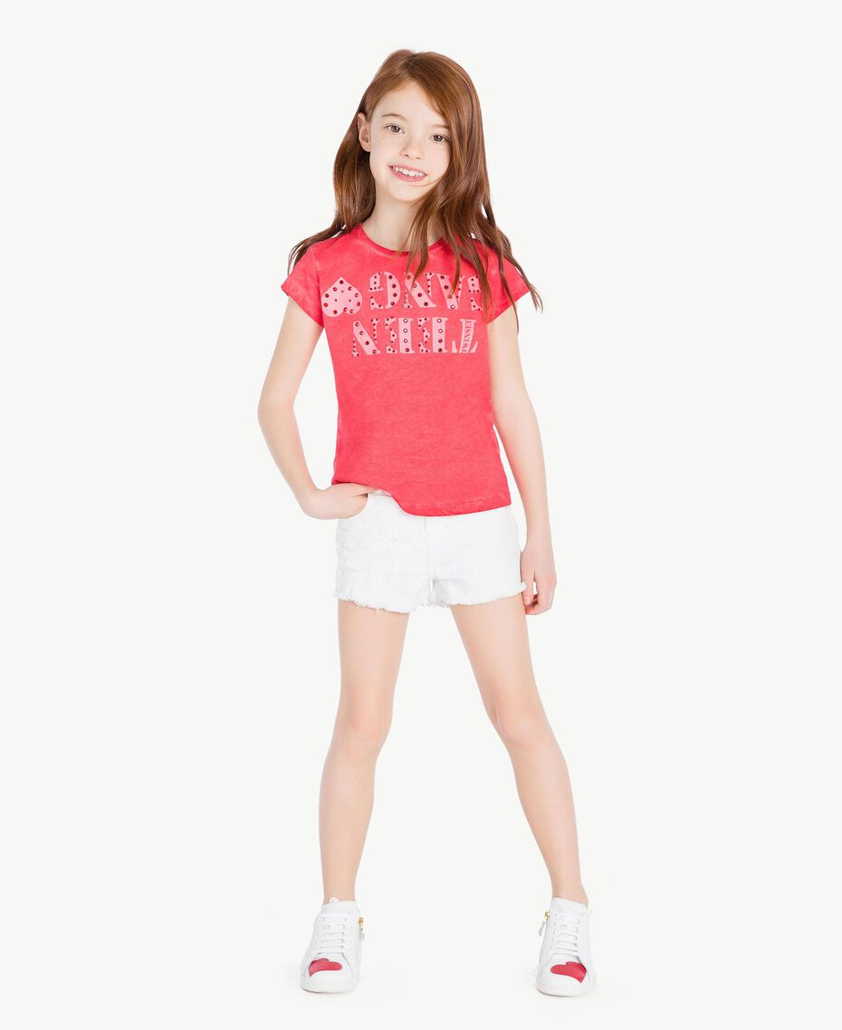 Printed T-shirt Two-tone Pomegranate Red / Bud Pink Child GS821A-02