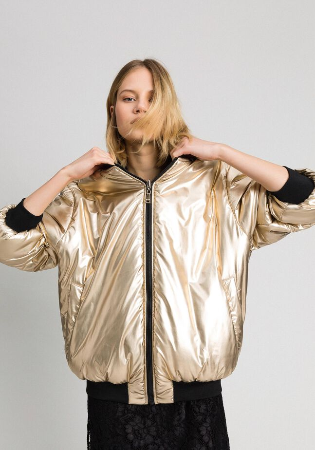 Bomber réversible en satin technique