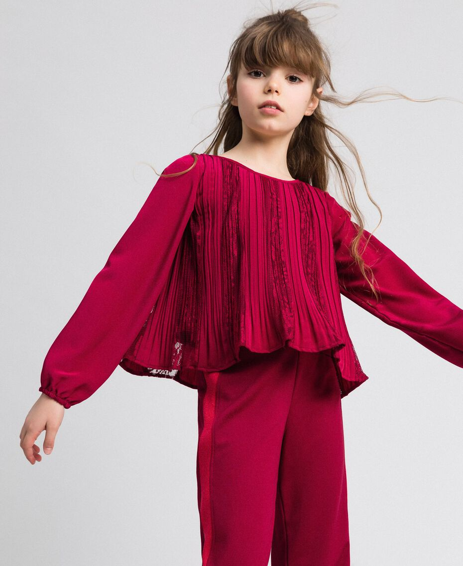 Pleated crêpe and lace blouse Ruby Wine Red Child 192GJ2520-01