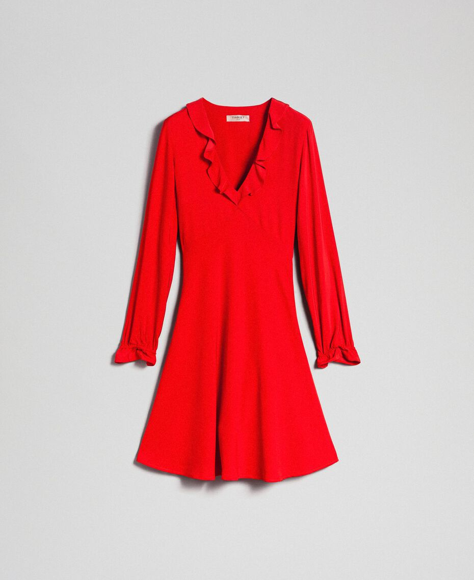 Georgette dress with ruffles Pomegranate Red Woman 192TP2112-0S