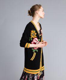 Maxi cardigan en laine mélangée Noir Femme PA83HN-02
