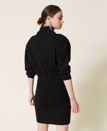 Robe en maille avec empiècements en satin Noir Femme 212AP3191-04