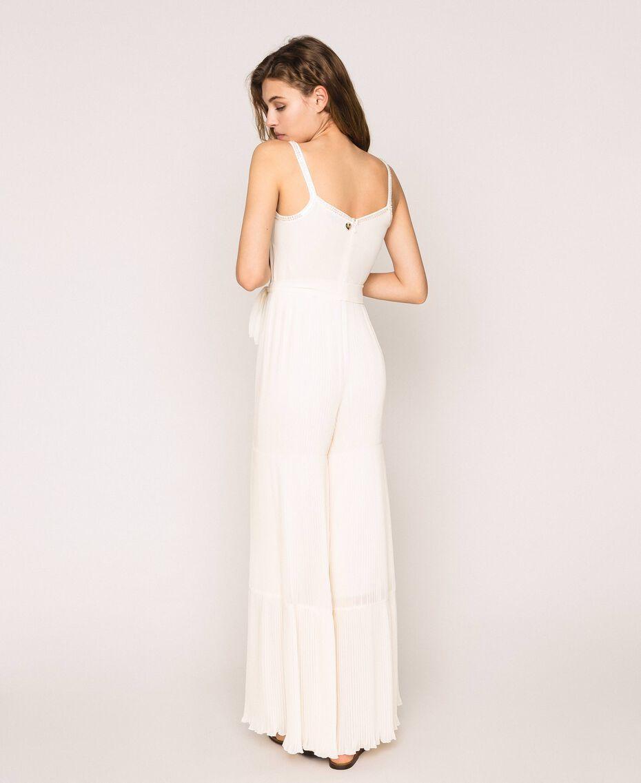 Combinaison en crêpe georgette plissé avec broderie Blanc Antique White Femme 201TT2091-03