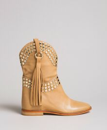 Leather ankle boots with studs Nougat Beige Woman 191TCP044-02