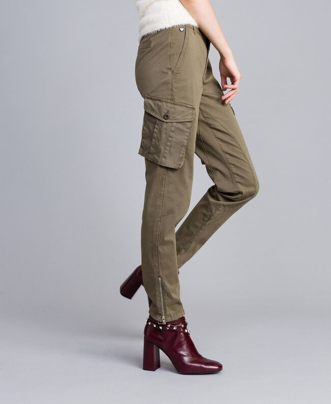 Pantalon combat slim en coton Vert Alpin Femme JA82ED-01