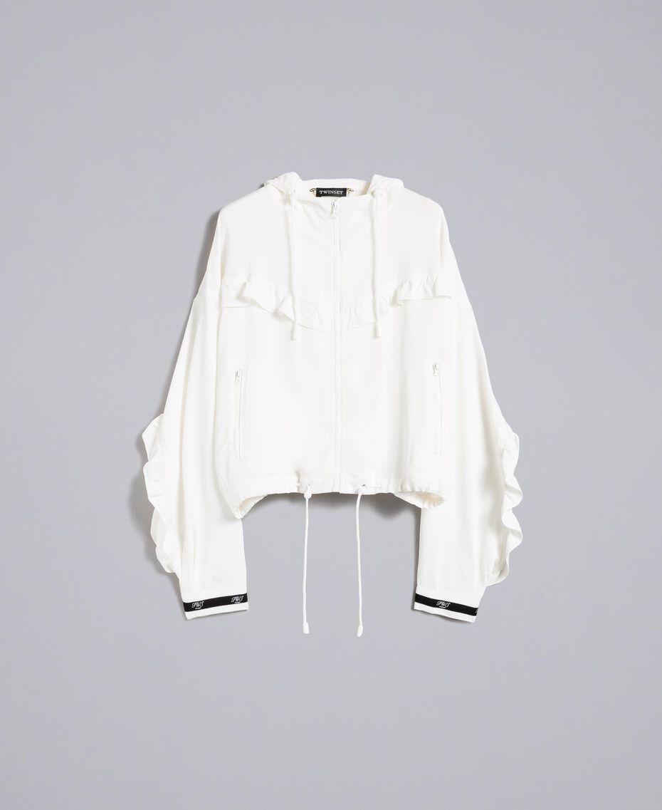 Jacke aus Georgette mit Rüschen Weiß Schnee Frau PA82HA-0S