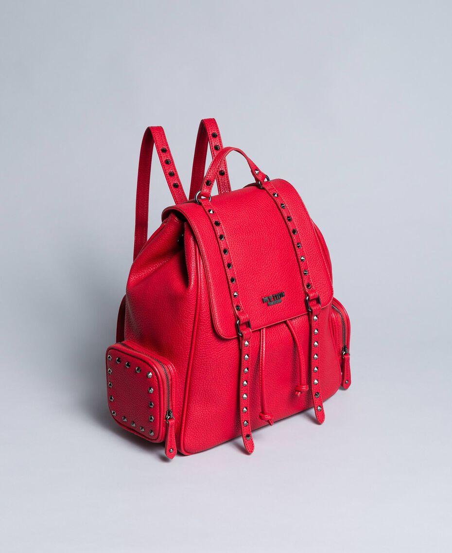 Rucksack aus Lederimitat mit Nieten Rot Mohn Frau VA8PAC-02