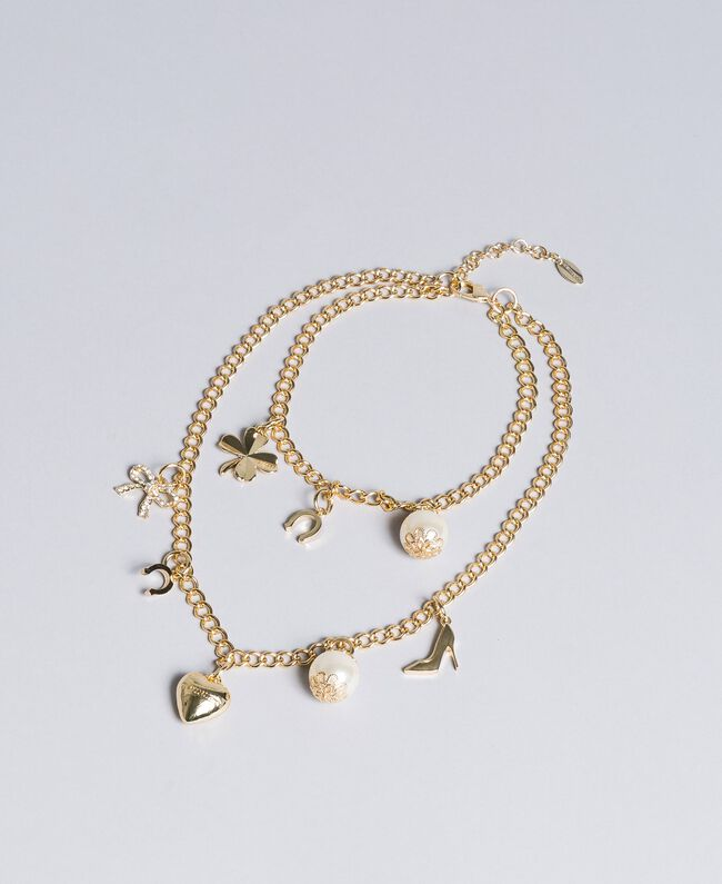 """Halskette aus Metall mit Anhängern """"Free""""-Hellgold Frau AA8P7H-01"""