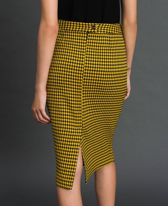 Gonna longuette in pied-de-poule Pied De Poule Giallo / Nero Donna 192MT2053-01