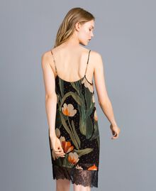 Printed georgette slip dress Maxi Black Tulip Print Woman TA828V-04