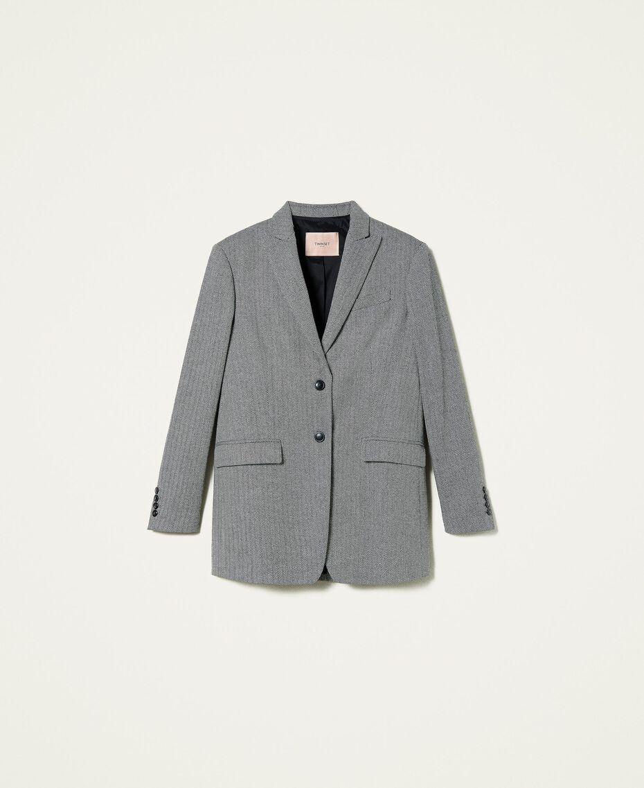 """Wool blend blazer with chevron pattern Black / """"Snow"""" White Chevron Woman 212TP2550-0S"""