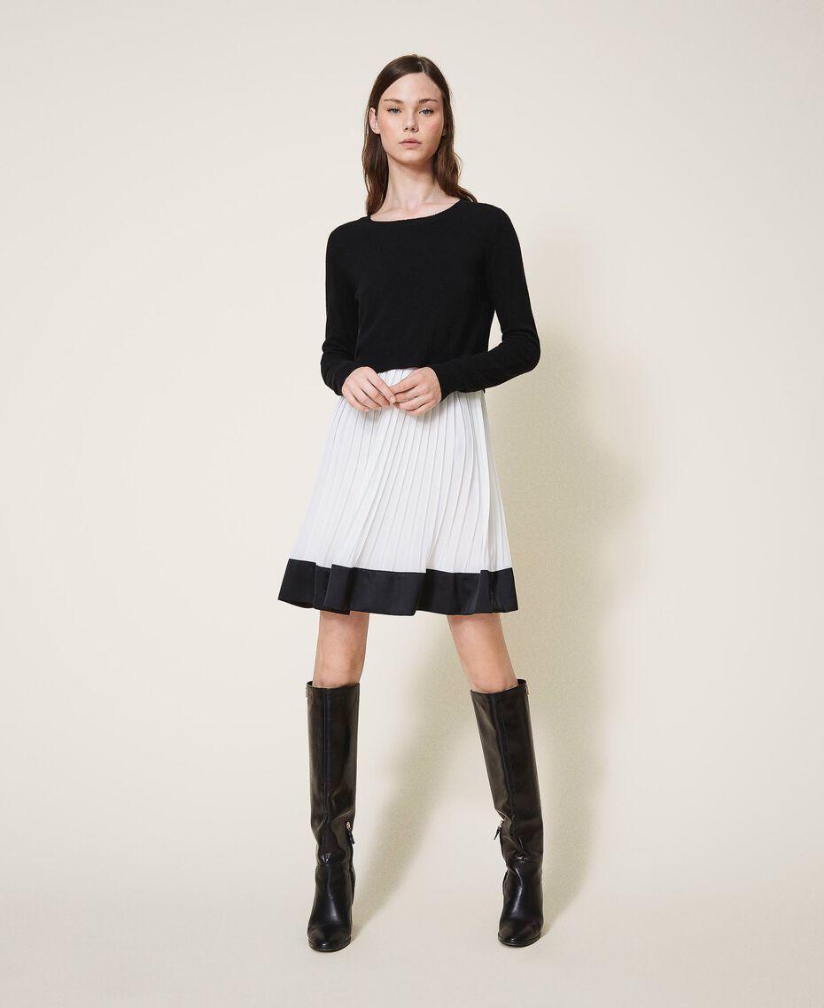 "Slip dress with wool blend jumper Bicolour Black / ""Snow"" White Woman 202TT3052-01"