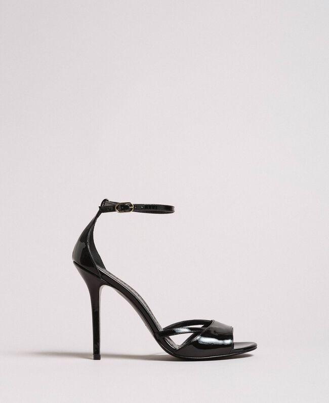 Leder-Sandalen mit Riemchen Schwarz Frau 191TCP10U-01
