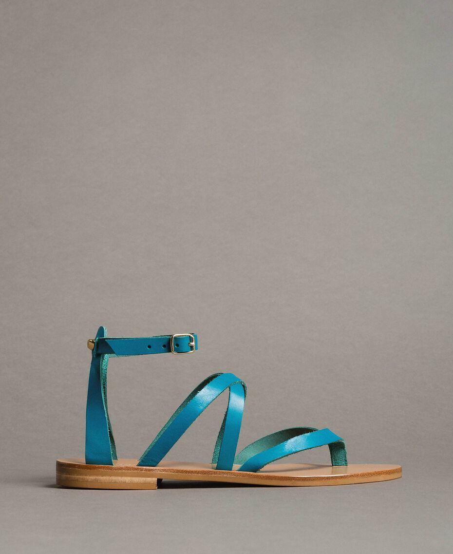 Leder-Sandalen mit Riemchen Keramikblau Frau 191TCT09U-02